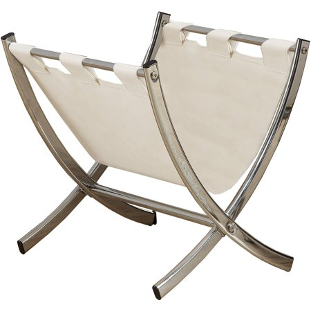White Leather-Look/Chrome Metal Magazine Rack (Leather Magazine Holder)