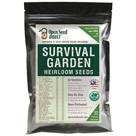 15,000 Non GMO Heirloom Vegetable Seeds Survival Garden 32 Variety Pack by Open Seed