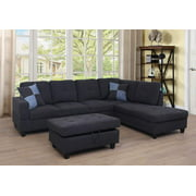 PonLiving Furniture 3-PCPiece Sectional Sofa Couch Set, L-Shaped Modern Sofa with Chaise Storage Ottoman and Pillows for Living Room Furniture, Right Hand Facing Sectional Sofa Set
