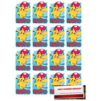 16 Pack Pokemon Pikachu Postcard Style Party Invitations with Envelopes, Seals and Save the Date Stickers (Plus Party Planning Checklist by Mikes Super Store)