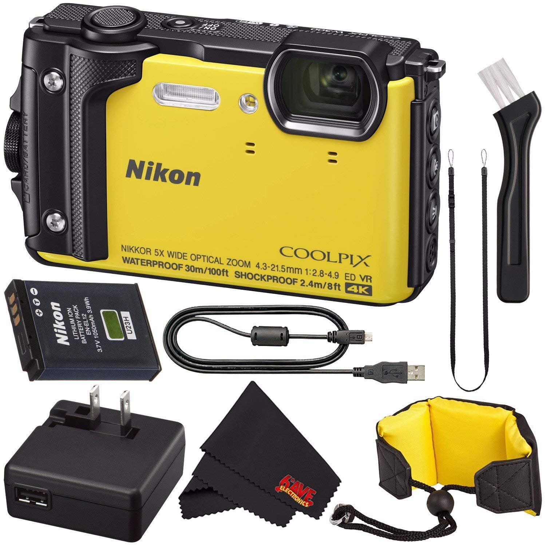 Nikon COOLPIX W300 Digital Camera (Orange) 26524 International Model + Nikon Waterproof Floating Strap + MicroFiber Cloth Bundle
