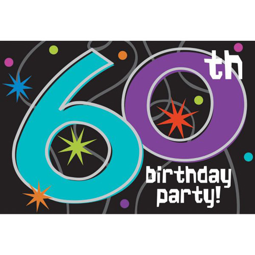 Over the Hill 'The Party Continues' 60th Birthday Invitations w/ Envelopes (8ct)