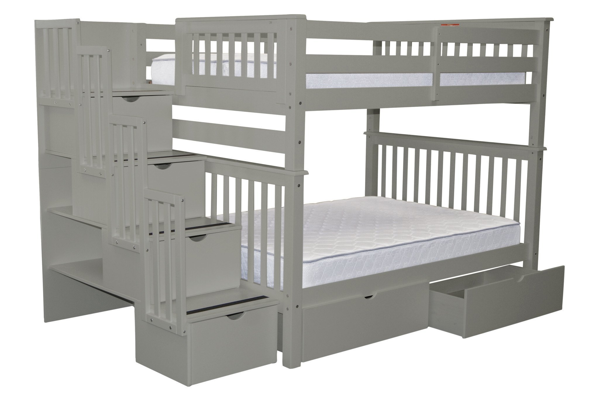 Bedz King Stairway Bunk Beds Full over Full with 4 Drawers in the Steps and 2 Under Bed Drawers, Gray by