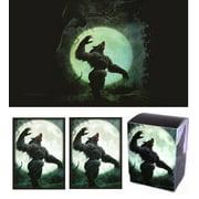 FULL MOON - Werewolf Playmat + DECK BOX + 100 Matching GLOSS Finish Sleeves (fits Magic / MTG Cards) by MAX PRO