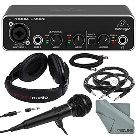 behringer u phoria umc22 2in2out usb audio interface and deluxe bundle w samson r10s mic. Black Bedroom Furniture Sets. Home Design Ideas
