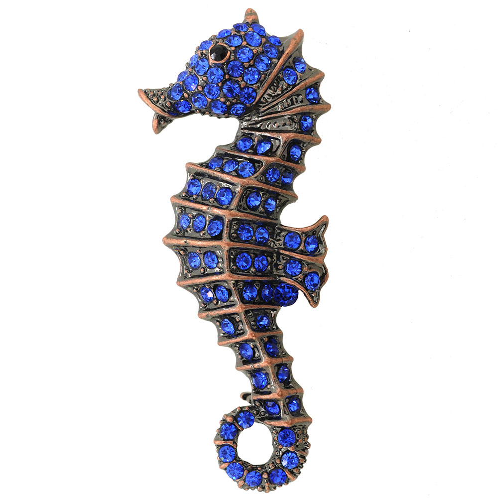Sapphire Blue Seahorse Pin Brooch by