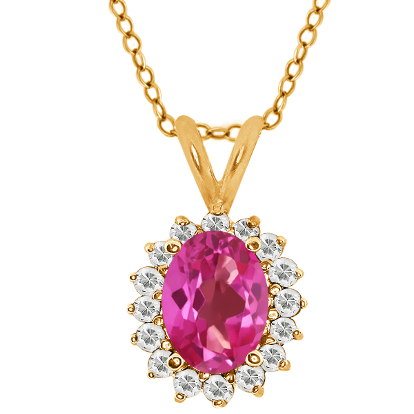 Oval Pink Mystic Topaz White Topaz 14K Yellow Gold Pendant 1.82 Cttw With 18 Inch Chain by