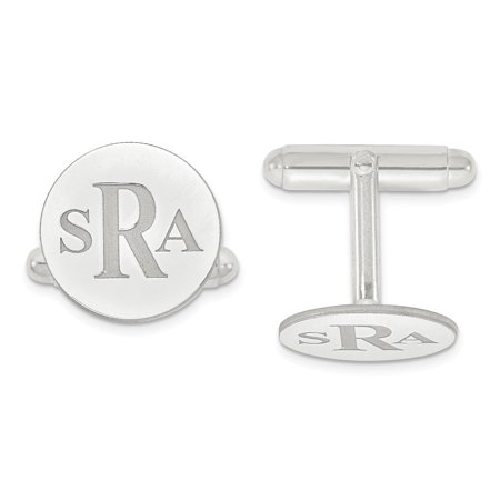 Solid 14k White Gold Recessed Letters Circle Monogram Cufflinks 16mm Circle White Cufflinks