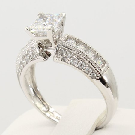 Icengold 2 50 Ct 14k Real White Gold Fancy Square Princess Cut