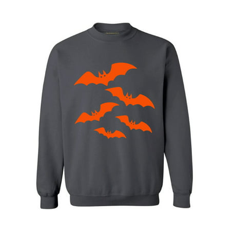 Awkward Styles Orange Bats Sweatshirt Halloween Bats Sweater for Men and Women Cartoon Bats Outfit for Halloween Funny Holiday Gifts Halloween Party Sweatshirt Halloween Crewneck Halloween Gifts (Halloweens Weather)