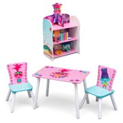 Trolls World Tour 4-Piece Playroom Set by Delta Children – Includes Table and 2 Chair Set and 3-Shelf Playhouse Bookcase