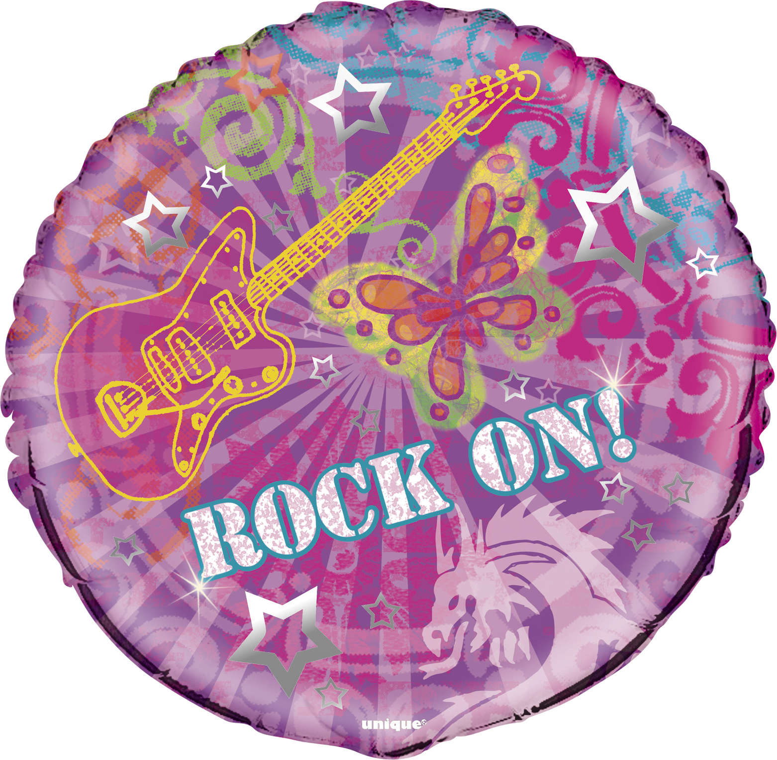 "Unique Rock On Rockstar Birthday Party 18"" Foil Balloon, Purple Pink"
