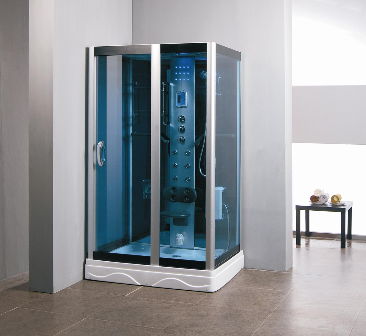Kokss 9009 Shower Room Enclosure with Massage Hydro Jets, LED Lights ...