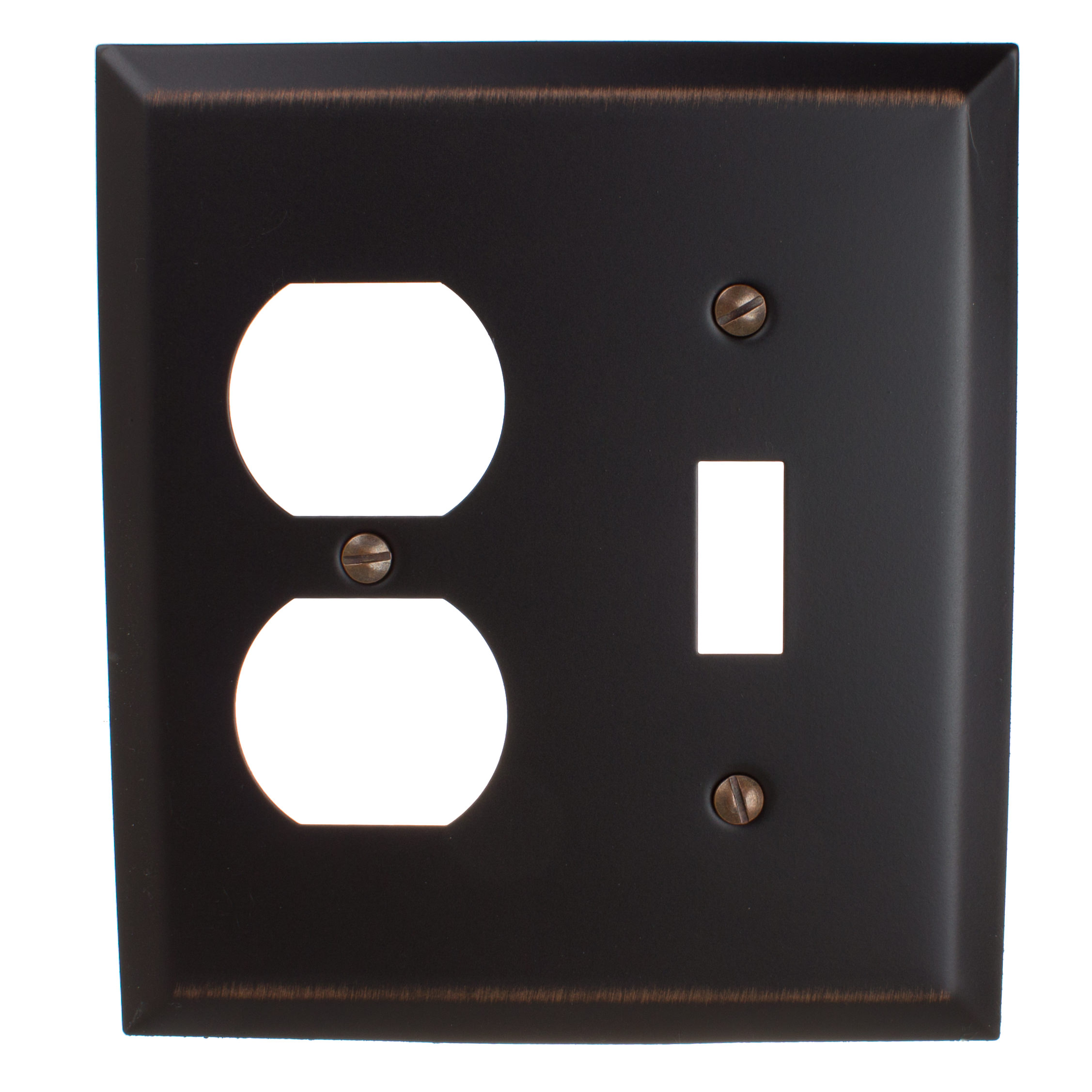 GlideRite Hardware Light Switch and Duplex Outlet 2-Gang Beveled Edge Combination Wall Plate Cover, Brushed Nickel