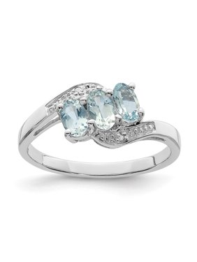0.59ct Oval Cut Aquamarine and Diamond Accent Sterling Silver Ring Size 7 Fine Jewelry Ideal Gifts For Women Gift Set From Heart