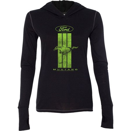 (Green Ford Mustang Stripe Hoodie Tee - Solid Black, Small)