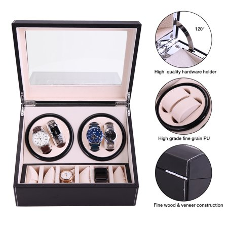 Jaxpety 4+6 Watch Winder Black Leather Auto Rotation Storage Compartment Display - Leather Watch Winder