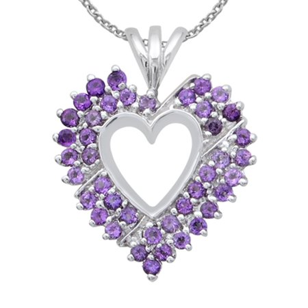 925 Sterling Silver 1 2/3 Carat Amethyst Prong Set Heart Necklace