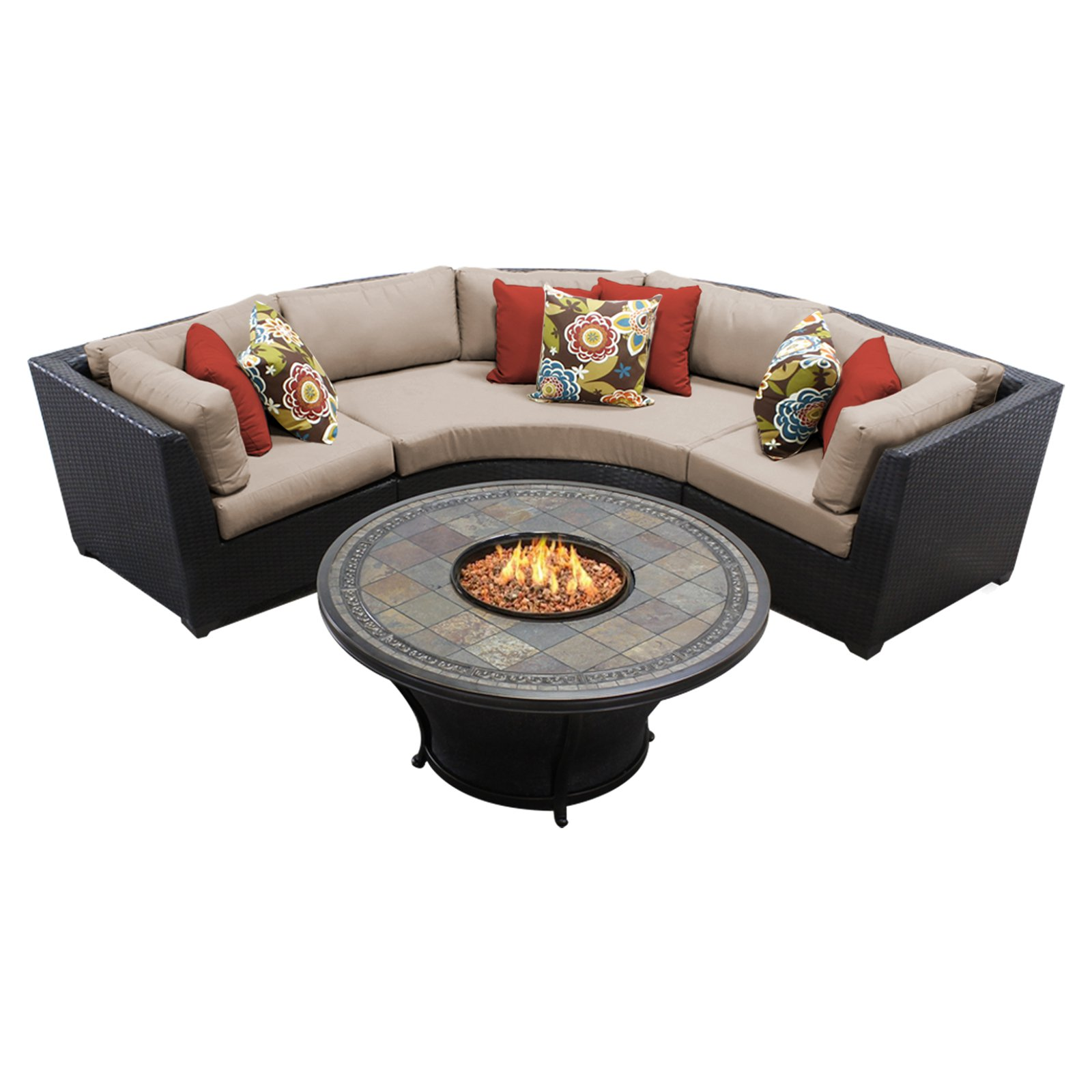 TK Classics Barbados Wicker 4 Piece Patio Conversation Set with Firepit Table and 2 Sets of Cushion Covers by TK Classics