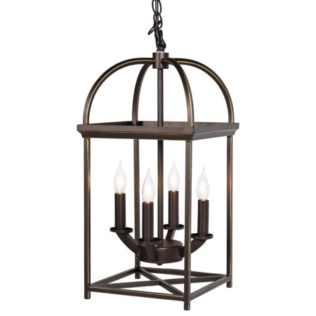 Best Choice Products 4-Light Modern Hanging Pendant Ceiling Latern Chandelier w/ Adjustable Chain for Home, Dining Room, Kitchen, Foyer - Bronze
