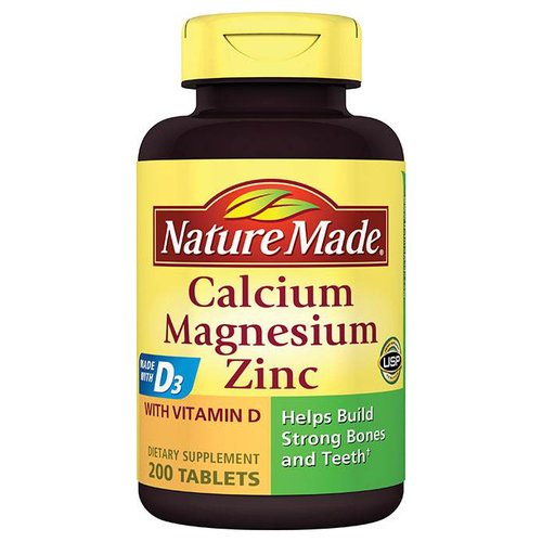 Nature Made Calcium, Magnesium, Zinc Dietary Supplement Tablets, 200 count