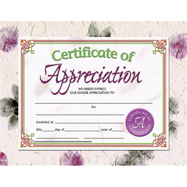 HAYES SCHOOL PUBLISHING H-VA614 CERTIFICATES OF APPRECIATION-36/PK 8-1/2 X 11 INKJET/LASER
