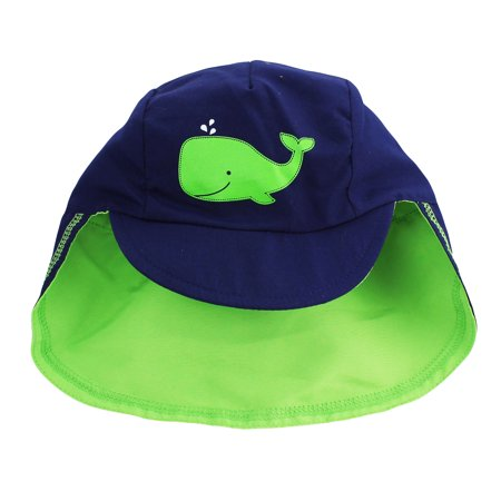 Little Me Toddler Baseball Brim Covered Neck Flap Sun Hat Navy Green Whale 2T-4T ()