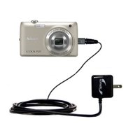 Gomadic Intelligent Compact AC Home Wall Charger suitable for the Nikon Coolpix S4100 - High output power with a convenient, foldable plug design - Us