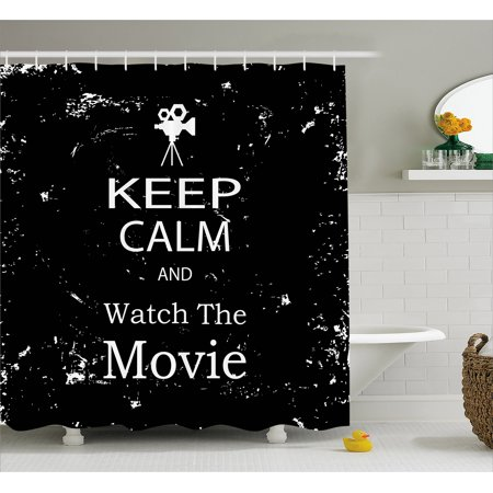 Keep Calm Shower Curtain, Watch the Movie Quote for Film Buffs Grungy Weathered Backdrop with Old Camera, Fabric Bathroom Set with Hooks, 69W X 70L Inches, Black White, by Ambesonne