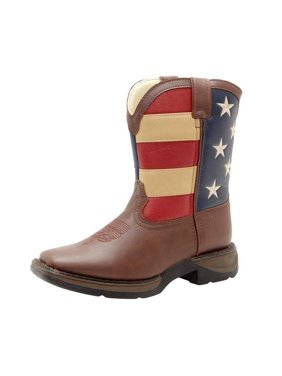 durango kids bt245 lil' 8 inch patriotic,brown/union flag,2 little kid