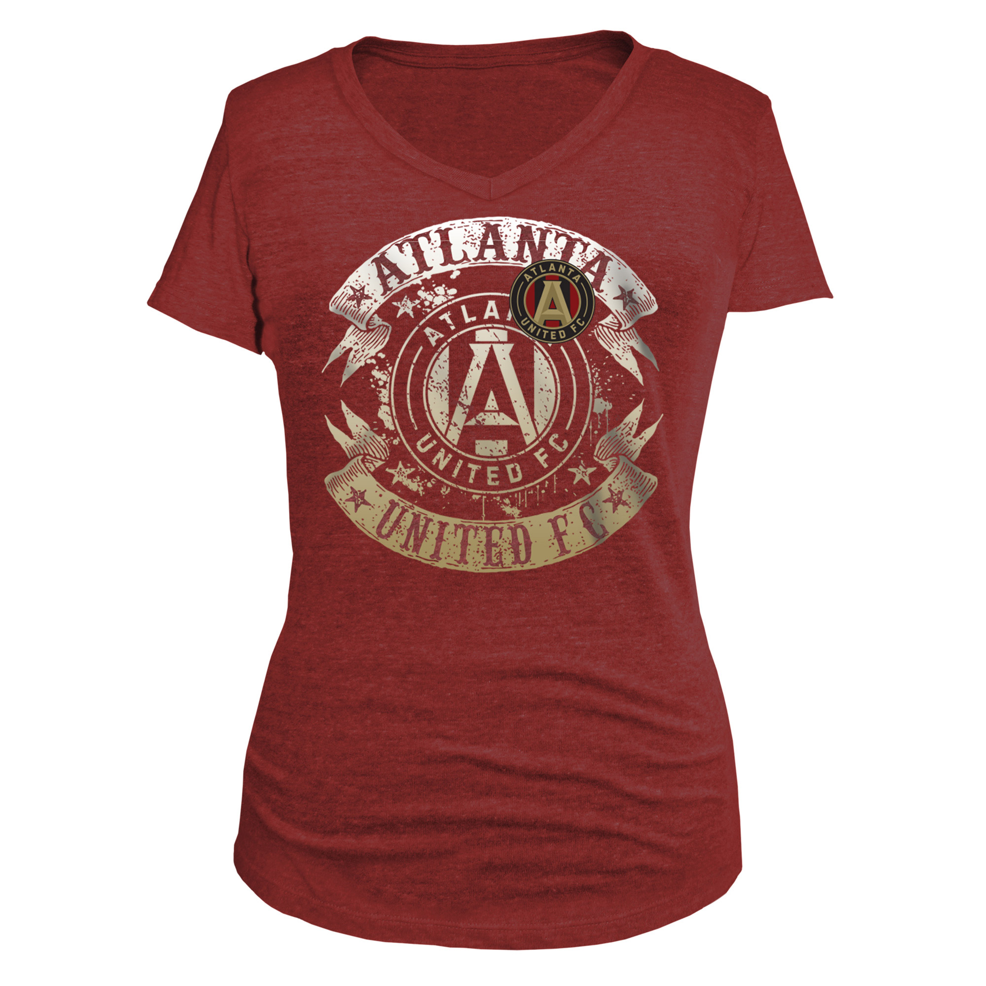 Atlanta United FC 5th & Ocean by New Era Women's Tri-Blend V-Neck T-Shirt - Red