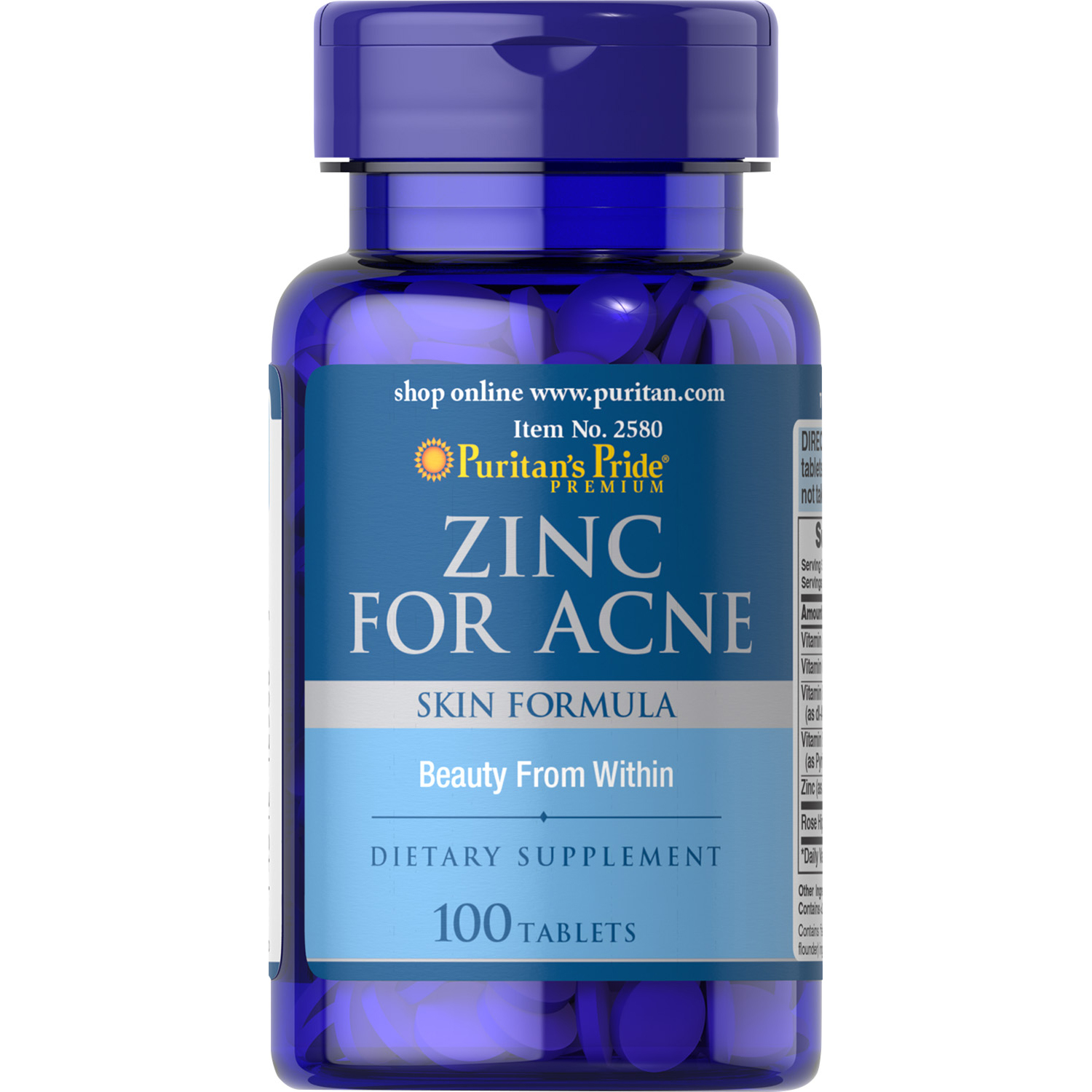Puritan S Pride Zinc For Acne 100 Tablets Walmart Com