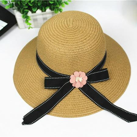 Women Foldable Large Brim Crochet Summer Knit West Cowboy Sun Hat UV Beach (How To Crochet A Summer Brim Hat)