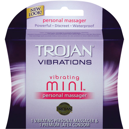 Trojan Vibrations Vibrating Mini Personal Massager W/Condom Vibrations, 1 ct