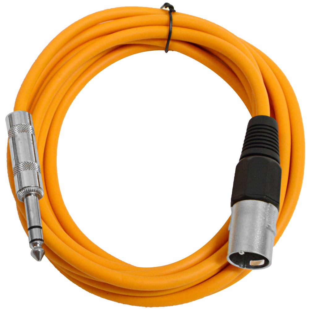 "Seismic Audio  Orange 1/4"" TRS  XLR Male 10' Patch Cable Orange - SATRXL-M10Orange"