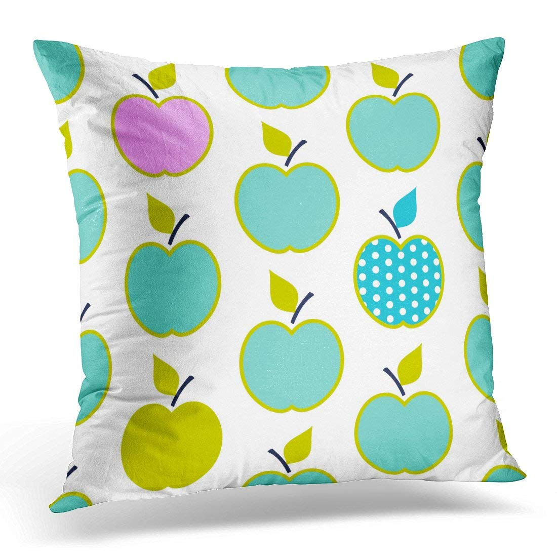 USART Blue Abstract Baby and Kids Pattern with Apples Cute Geometric Trendy Simple Design for Boys Pink Pillow Case Pillow Cover 18x18 inch