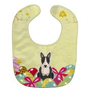Carolines Treasures BB6133BIB Easter Eggs Bull Terrier Black & White Baby Bib