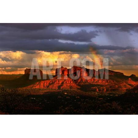 Sunset Sedona Arizona (Beautiful Rainbow in Sedona Arizona during Sunset Print Wall Art By)