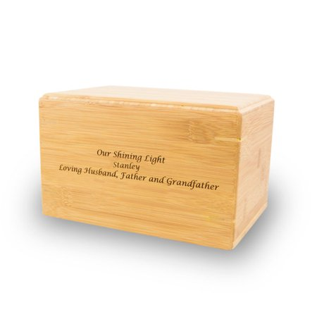 Bamboo Box Cremation Urn - Large 200 Pounds -  Brown Bamboo Box - Custom Engraving Included