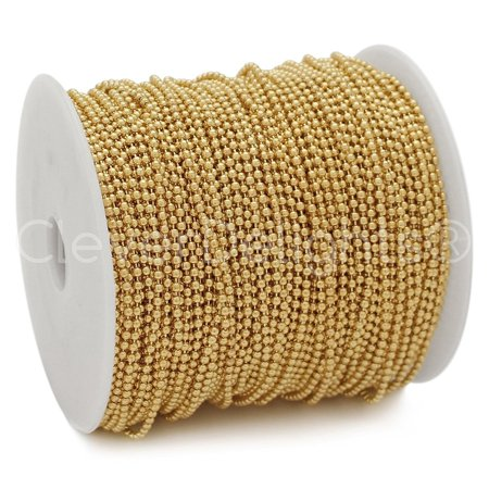 CleverDelights Ball Chain Spool - 330 Feet - 2.0mm Ball - Champagne Gold Color (Champagne Gold Color)
