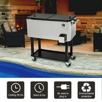 Ktaxon 80QT Trolley Frozen Warm Function Spray Cooler Cart Ice Beer Beverage Chest with Shelf Wheel