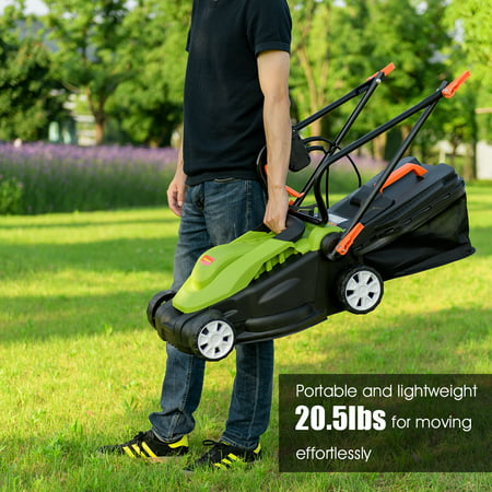 14-Inch 12Amp Lawn Mower w/Folding Handle Electric Push Lawn Corded Mower Green - image 10 of 10