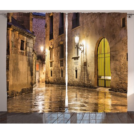 Gothic Decor Curtains 2 Panels Set, Gothic Ancient Stone Quarter Of Barcelona Spain Renaissance Heritage Gothic Night Street Photo, Living Room Bedroom Accessories, By Ambesonne