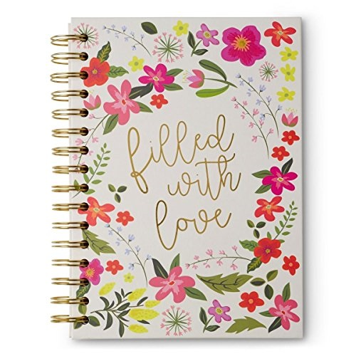 filled with love floral print hardcover spiral notebook, multi
