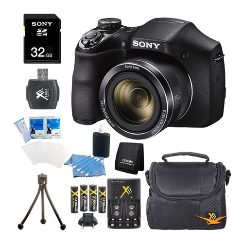 Sony DSC-H300/B DSCH300 H300 H300B DSCH300/B Digital Camera (Black) Bundle with High Speed 32GB High Speed Card, Rechargeable AA Batteries and AC/DC Charger, SD Card Reader, Table Top Tripod, LCD Scr