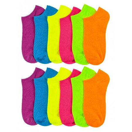 Lot Of 12 Women's Ladies No Show Neon Ankle Socks Multi Color Size 9-11 Fashion (Neon Socks No Show)