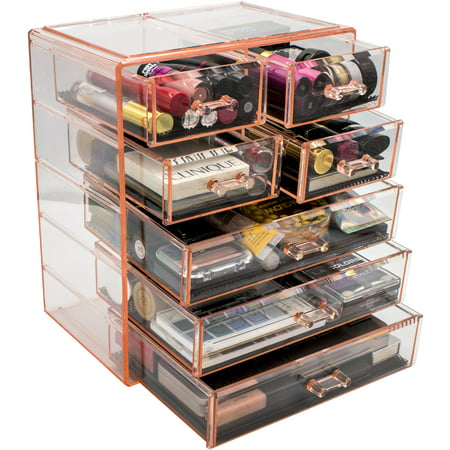 Sorbus Cosmetics Makeup and Jewelry Big Storage Case Display - Stylish Vanity, Bathroom Case (3 Large, 4 Small Drawers, Purple) ()