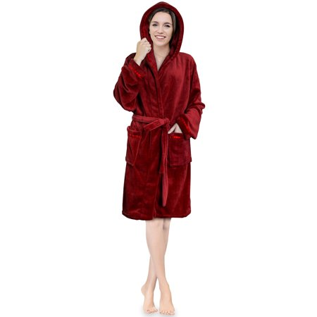 Women Hooded Fleece Robe with Satin Trim | Plush Bathrobe with Hood Knee Length