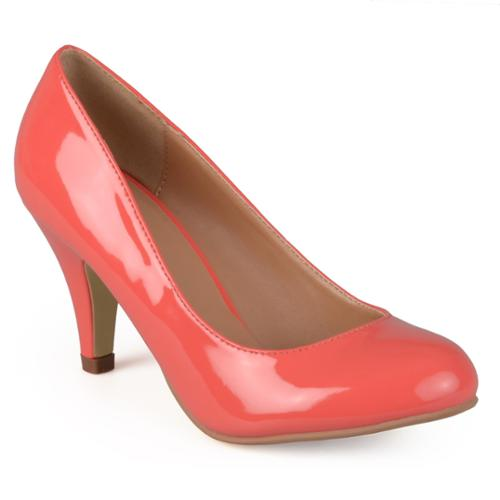 Journee Collection Women's 'Mavis-5' Round Toe Patent Pumps Coral- 7.5