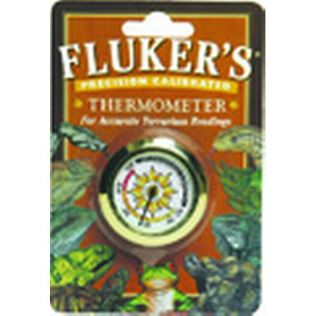 Fluker's Farms SFK34130 Plastic and Metal Round Precision Calibrated Thermometer, Amphibians: 70 to 76 deg F, Reptiles: 85 to 95 deg F